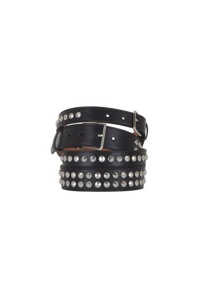 Alexander McQueen - Black Leather Studded Double Layered Belt
