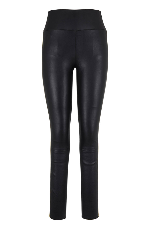 SPRWMN LLC Black & Gold Striped Ankle Leather Legging
