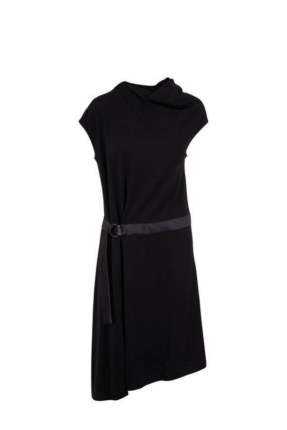 Brunello Cucinelli Black Wool Jersey D-Ring Belt Cap Sleeve Dress