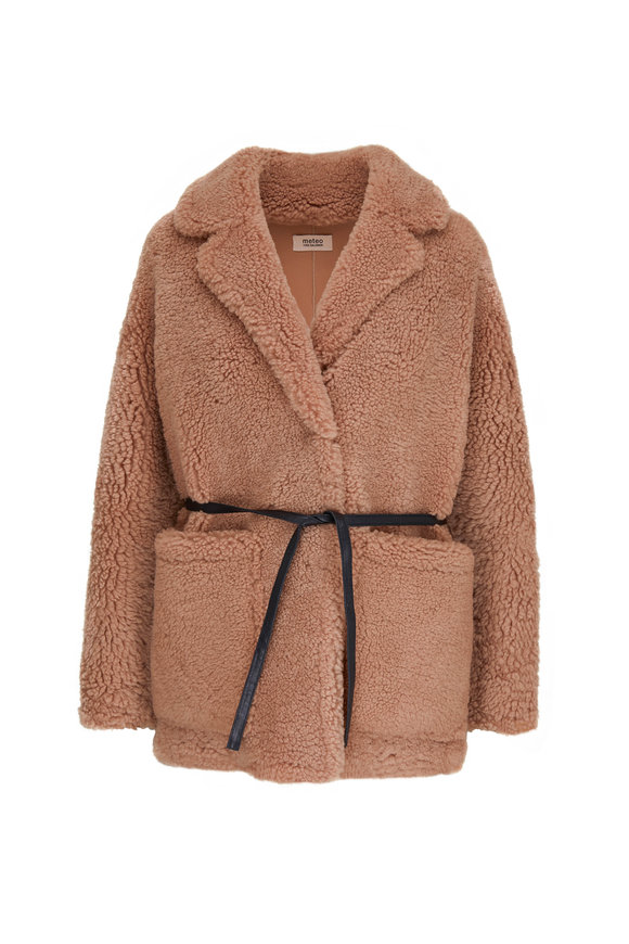 Yves Salomon  Camel Teddy Shearling Belted Short Coat