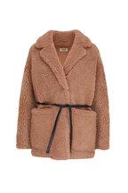 Yves Salomon - Camel Teddy Shearling Belted Short Coat