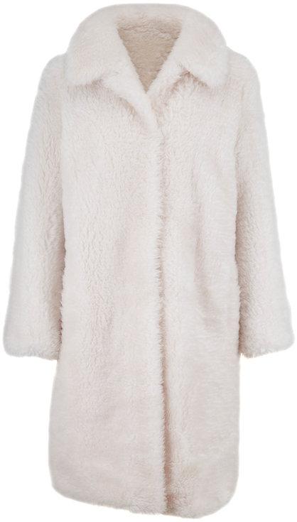 Yves Salomon  Ivory Lamb Wool Coat