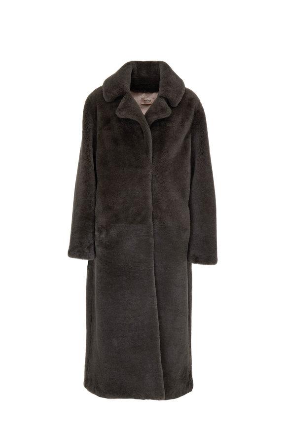Yves Salomon  Olive Green Shearling Long Coat
