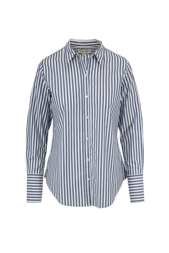 Nili Lotan Helen Dark Navy Striped Shirt