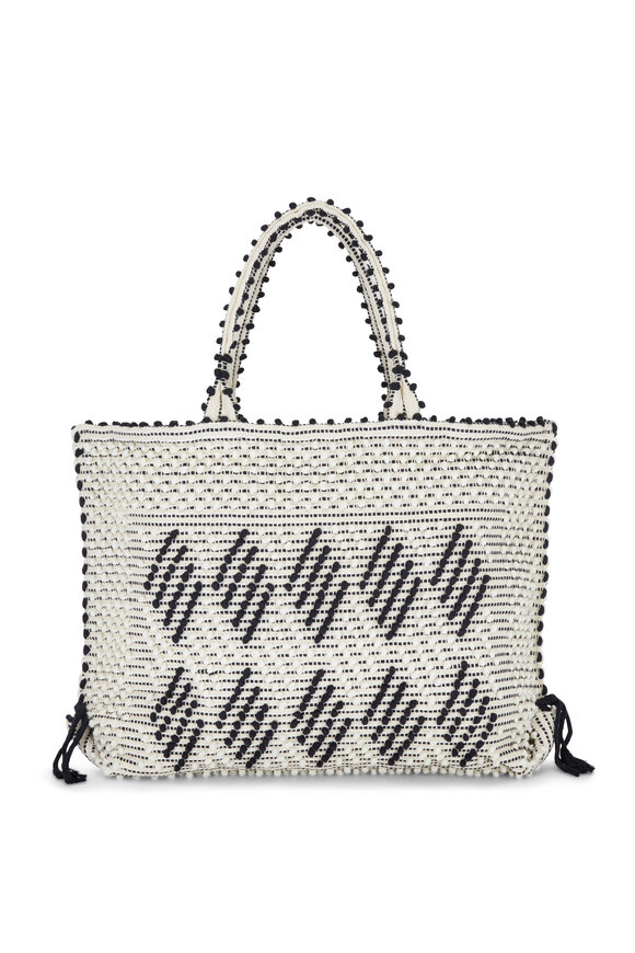 Antonello Capriccioli Black & White Zig-Zag Medium Tote