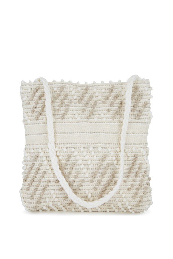 Antonello Florinas White Zig-Zag Canvas Tote