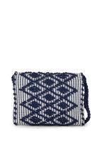Antonello - Suniro Navy Blue Rombi Canvas Shoulder Bag