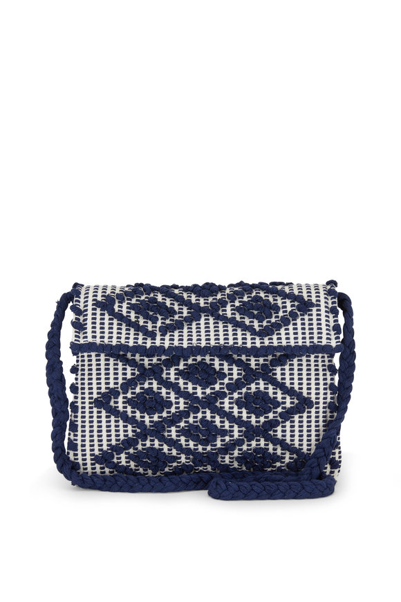 Antonello Suniro Navy Blue Rombi Canvas Shoulder Bag