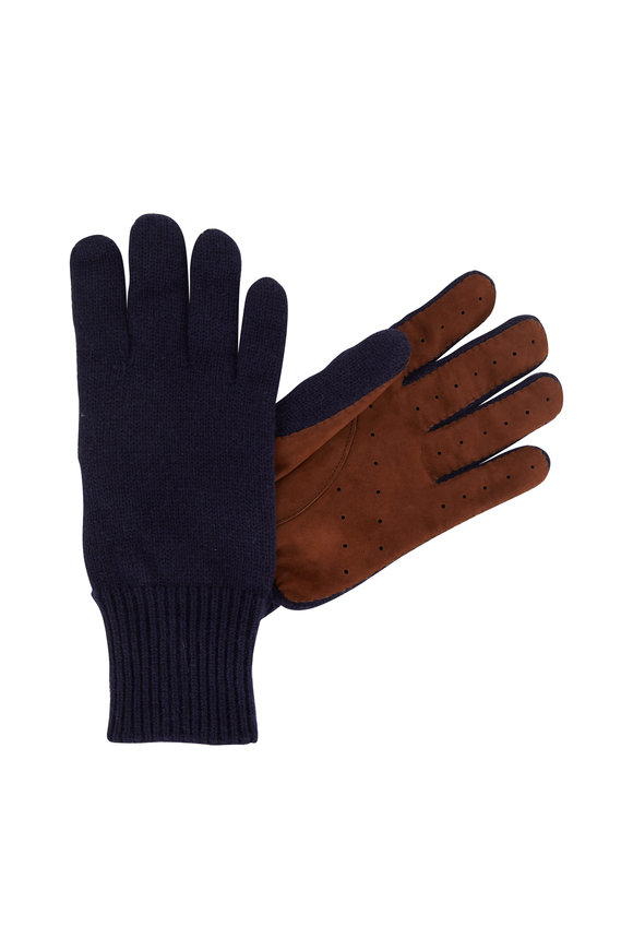 Brunello Cucinelli Navy Blue Cashmere & Suede Gloves