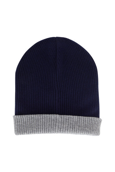 Brunello Cucinelli - Marine & Gray Ribbed Cashmere Reversible Hat