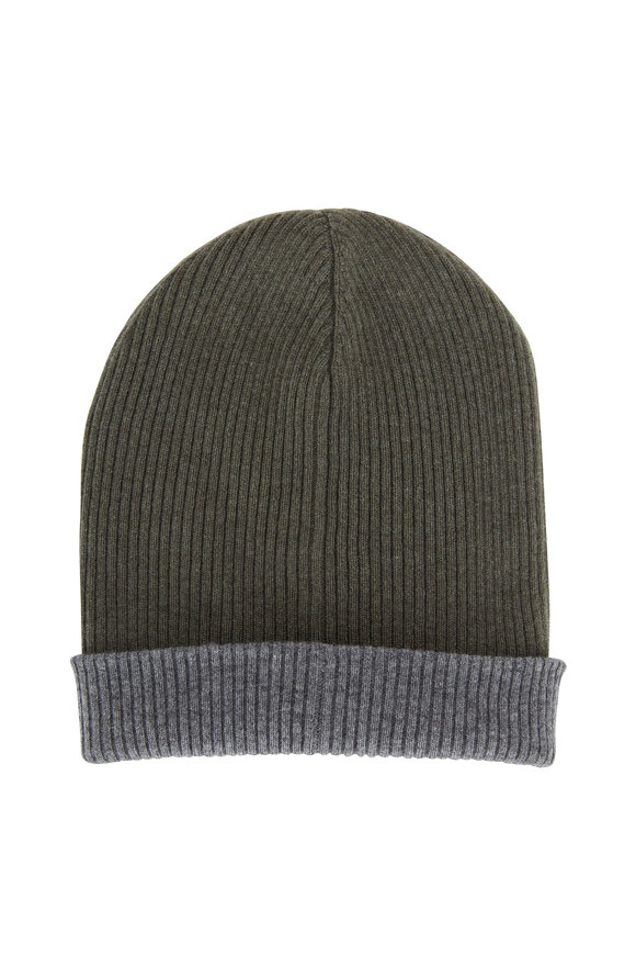 Brunello Cucinelli Army & Gray Ribbed Cashmere Reversible Hat