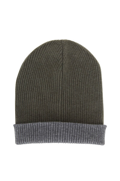 Brunello Cucinelli - Army & Gray Ribbed Cashmere Reversible Hat