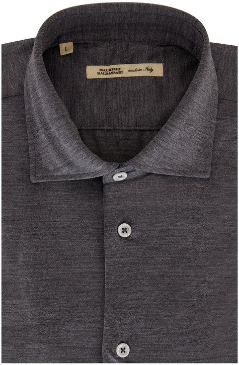 Maurizio Baldassari Gray Techmerino Wool Sport Shirt