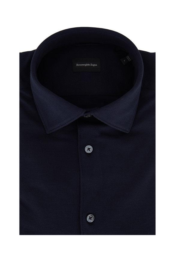 Ermenegildo Zegna Navy Blue Pique Tailored Fit Sport Shirt