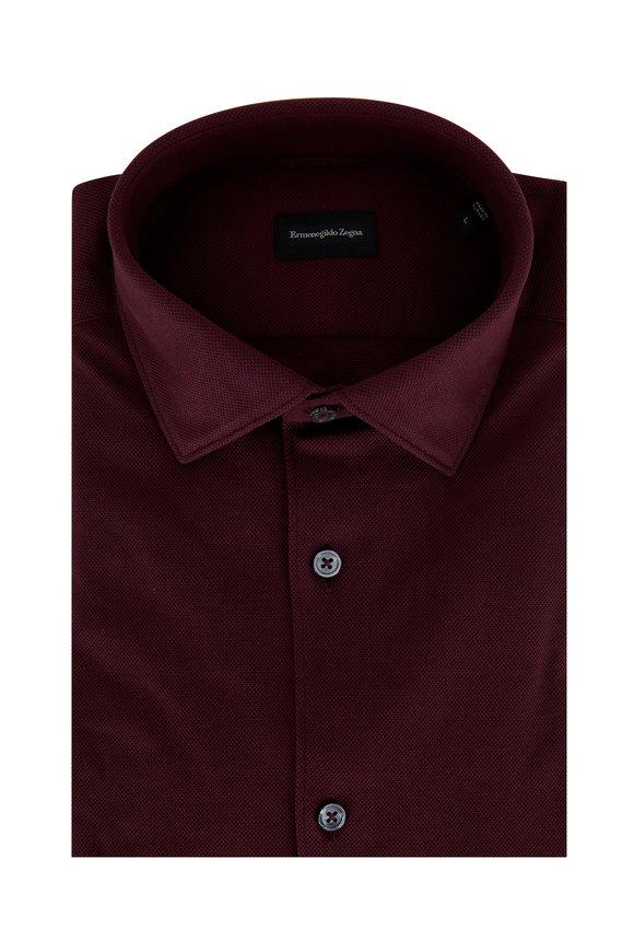 Ermenegildo Zegna Burgundy Pique Tailored Fit Sport Shirt