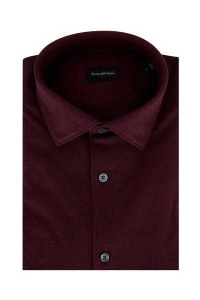 Ermenegildo Zegna - Burgundy Pique Tailored Fit Sport Shirt