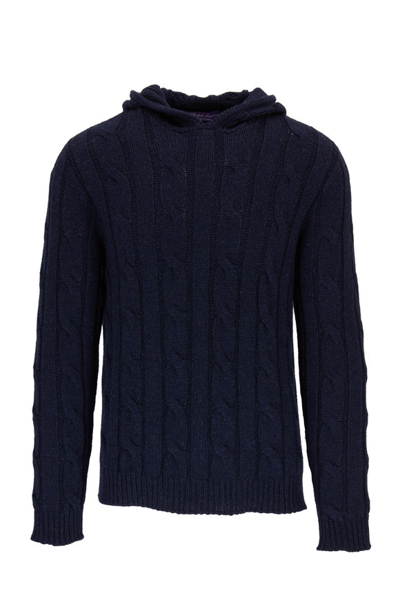 Ralph Lauren Navy Cashmere Cable Knit Hoodie