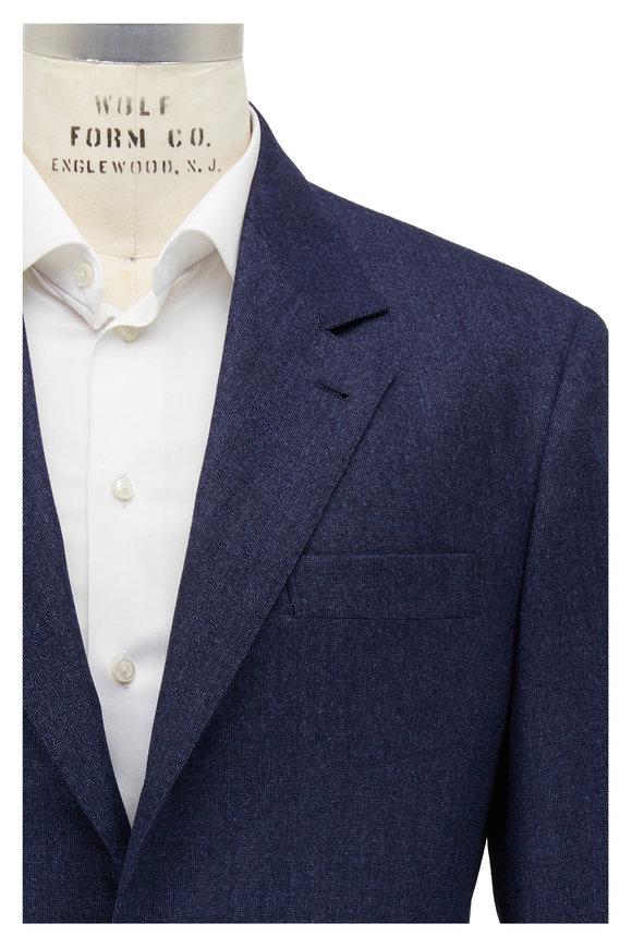 Brunello Cucinelli Ocean Blue Tick Wool Suit