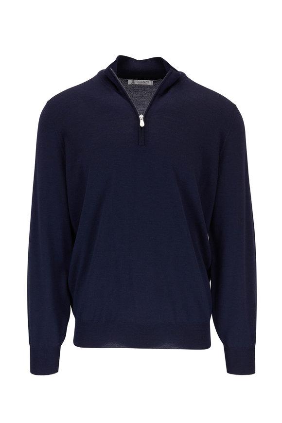 Brunello Cucinelli Midnight Wool & Cashmere Quarter-Zip Pullover