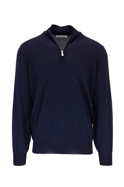 Brunello Cucinelli - Midnight Wool & Cashmere Quarter-Zip Pullover