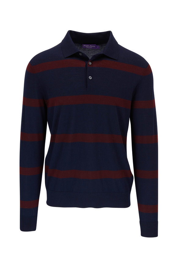 Ralph Lauren Navy & Burgundy Stripe Long Sleeve Polo