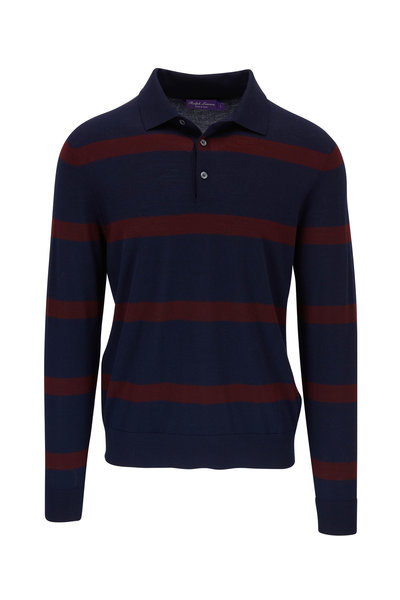 Ralph Lauren - Navy & Burgundy Stripe Long Sleeve Polo