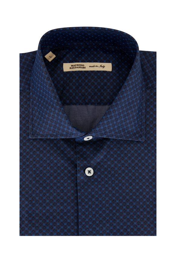 Maurizio Baldassari Navy Blue Floral Printed Sport Shirt