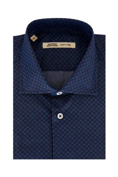 Maurizio Baldassari - Navy Blue Floral Printed Sport Shirt