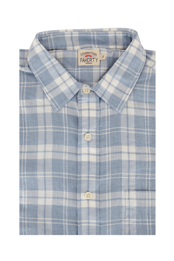 Faherty Brand Ventura Light Blue Plaid Sport Shirt
