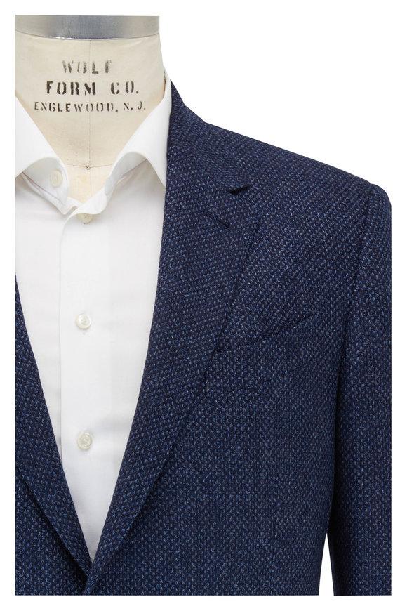Ermenegildo Zegna Trofeo Navy Blue Birdseye Wool Blend Sport Coat