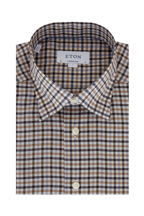 Eton Orange Multi Plaid Contemporary Fit Sport Shirt