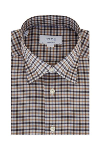 Eton - Orange Multi Plaid Contemporary Fit Sport Shirt
