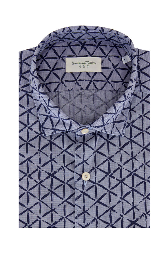 Tintoria Navy Blue Geometric Contemporary Sport Shirt