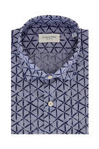Tintoria - Navy Blue Geometric Contemporary Sport Shirt