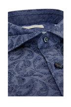 Tintoria - Navy Blue Paisley Contemporary Fit Sport Shirt