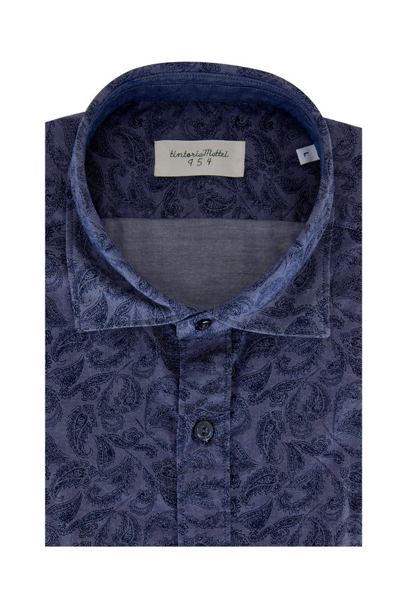 Tintoria Navy Blue Paisley Contemporary Fit Sport Shirt