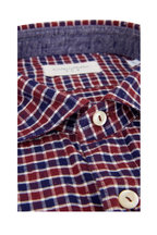 Tintoria - Navy Blue & Burgundy Plaid Sport Shirt