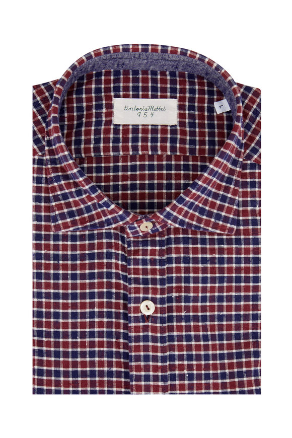 Tintoria Navy Blue & Burgundy Plaid Sport Shirt