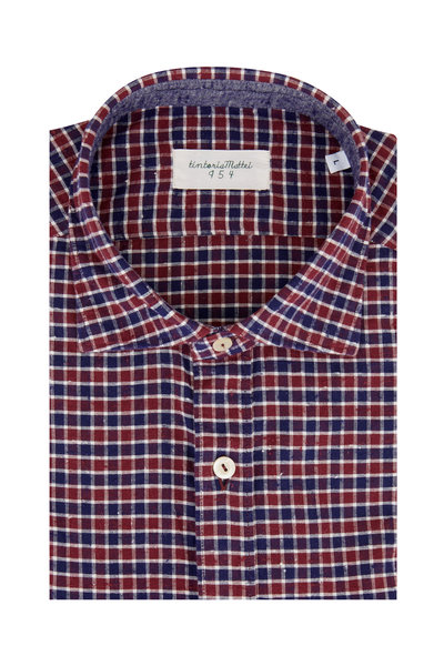 Tintoria - Navy Blue & Burgundy Plaid Sport Shirt
