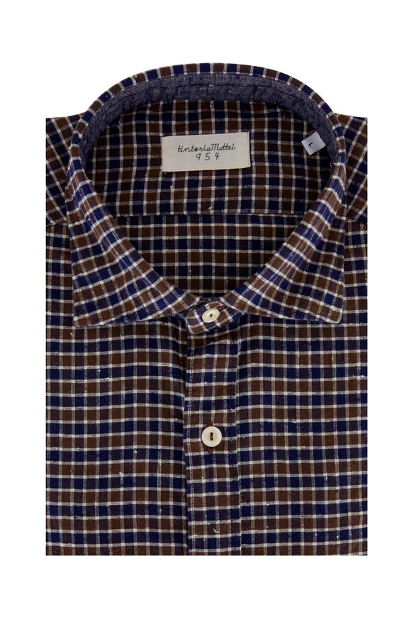 Tintoria Navy Blue & Brown Check Contemporary Sport Shirt