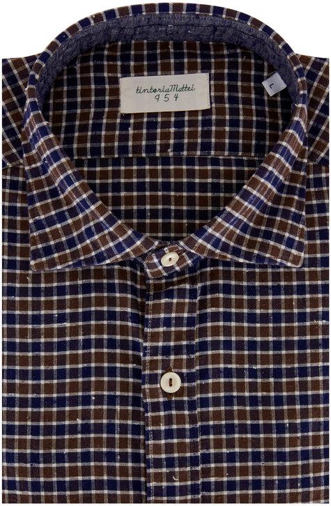 Tintoria Navy Blue & Brown Check Contemporary Sport Shirt