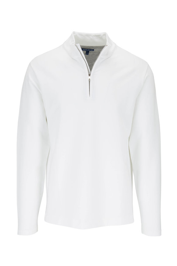 Peter Millar Crown Crafted White Quarter-Zip Pullover