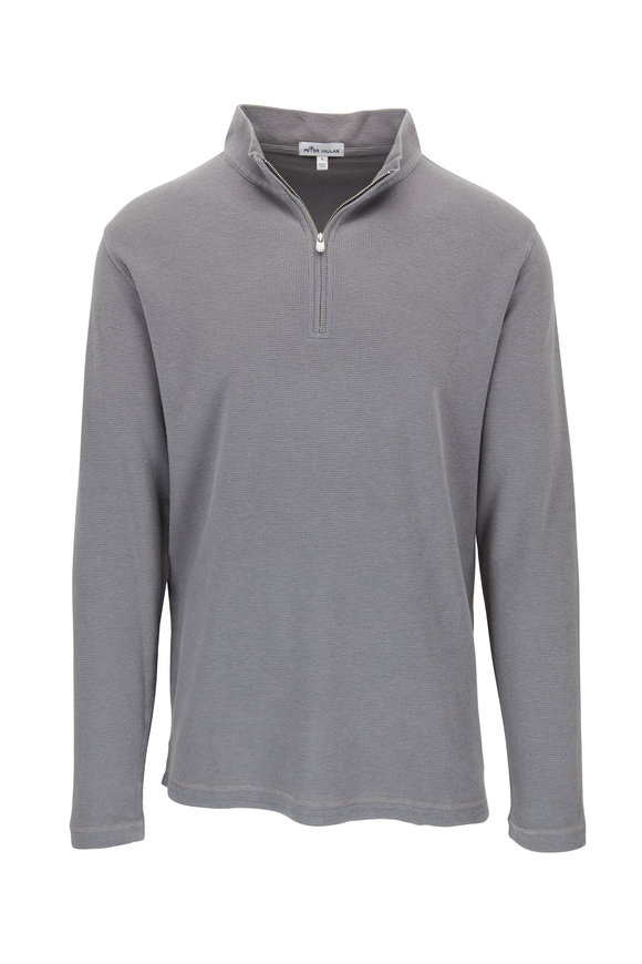 Peter Millar Charcoal Sunwashed Waffle Knit Pullover