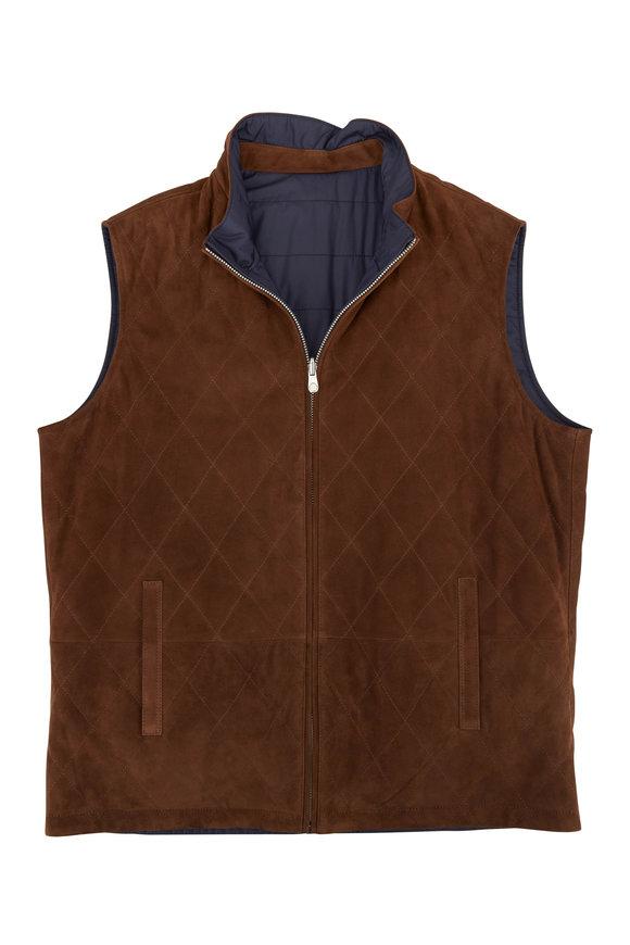 Peter Millar Brown Suede & Navy Quilted Reversible Vest