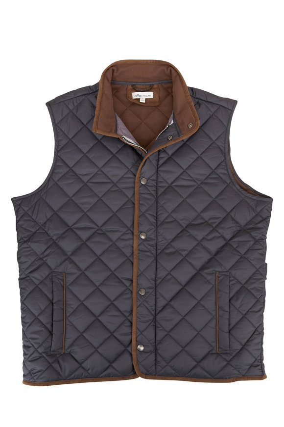 Peter Millar Essex Black Quilted Traveler Vest