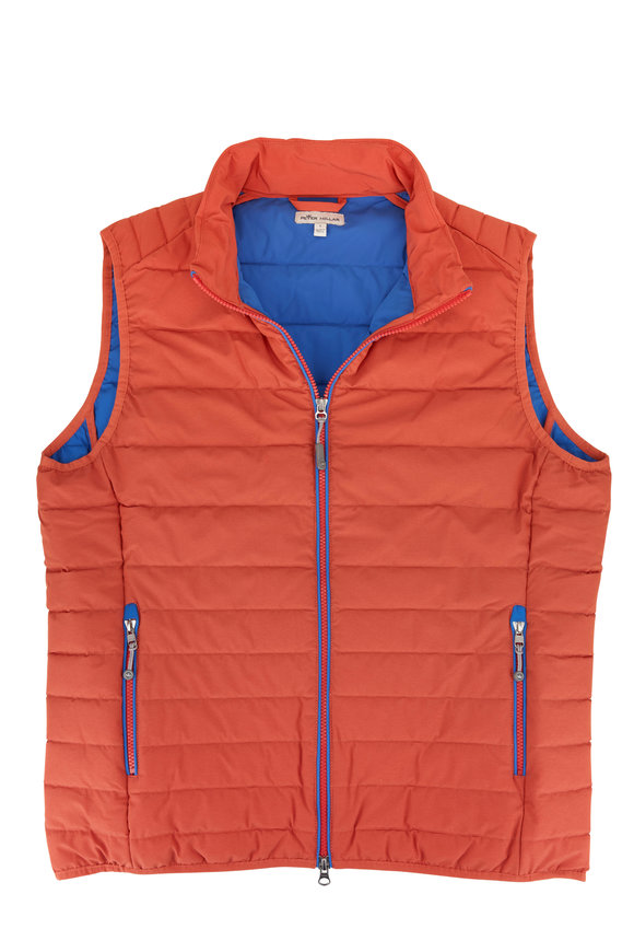 Peter Millar Crown Elite Orange Quilted Vest
