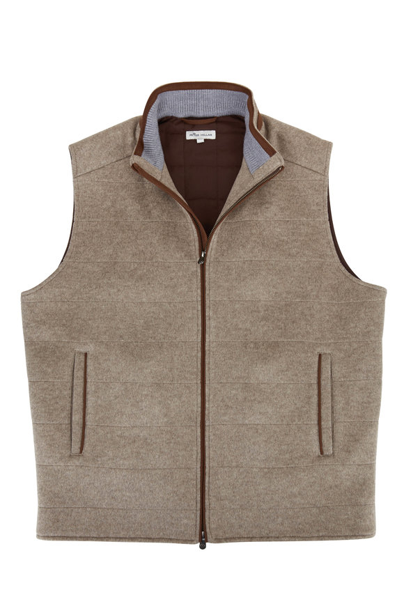 Peter Millar Mushroom Flex-Fleece Wool Vest