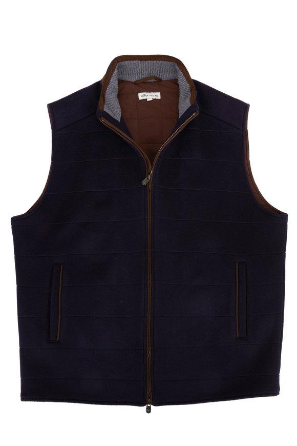 Peter Millar Navy Flex-Fleece Wool Vest