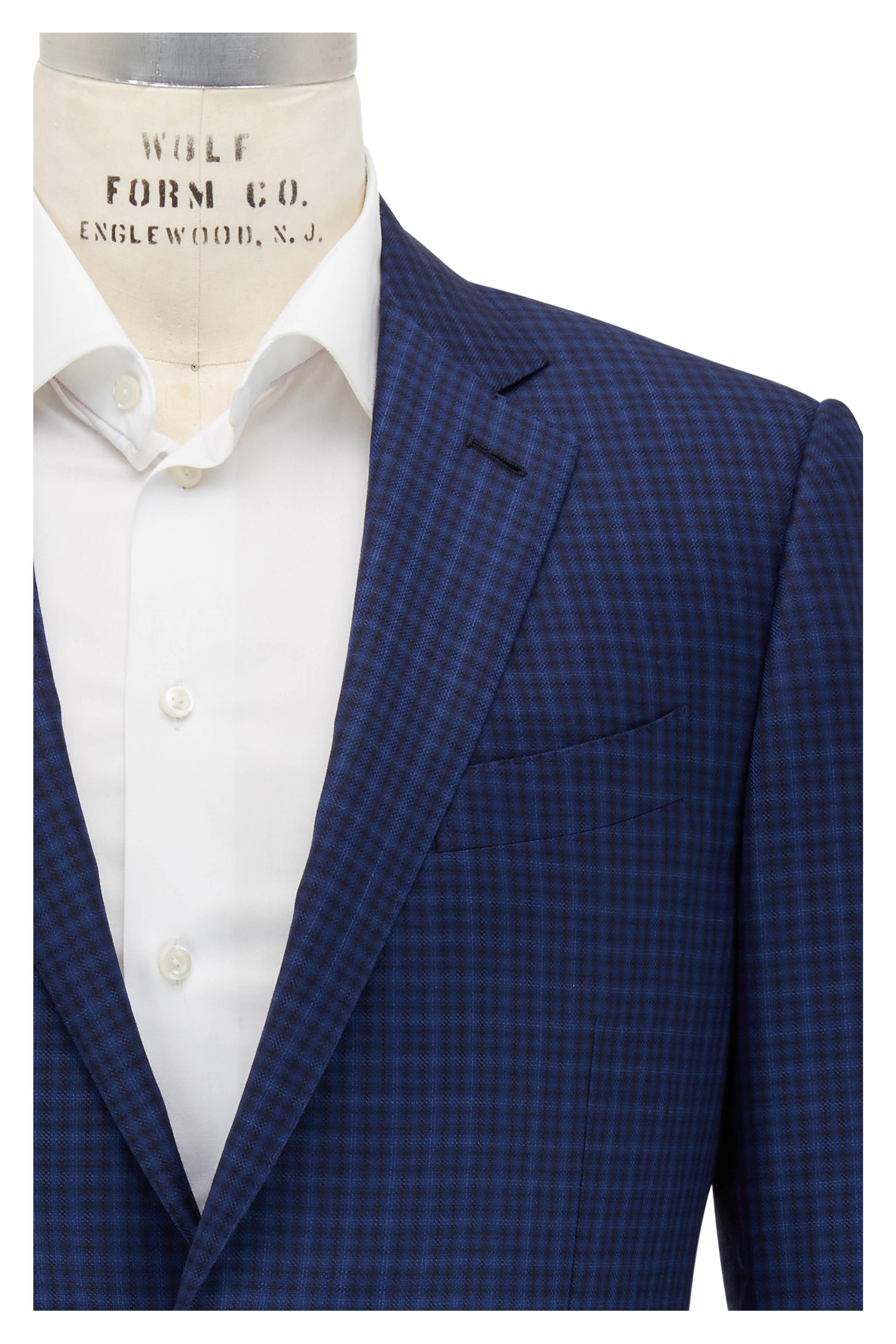 06518befee Ermenegildo Zegna - Navy Blue Wool Check Sportcoat   Mitchell Stores