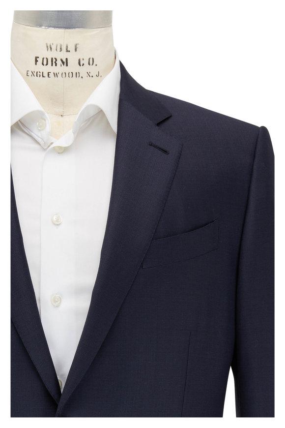 Ermenegildo Zegna Trofeo Navy Blue Pindot Wool Suit